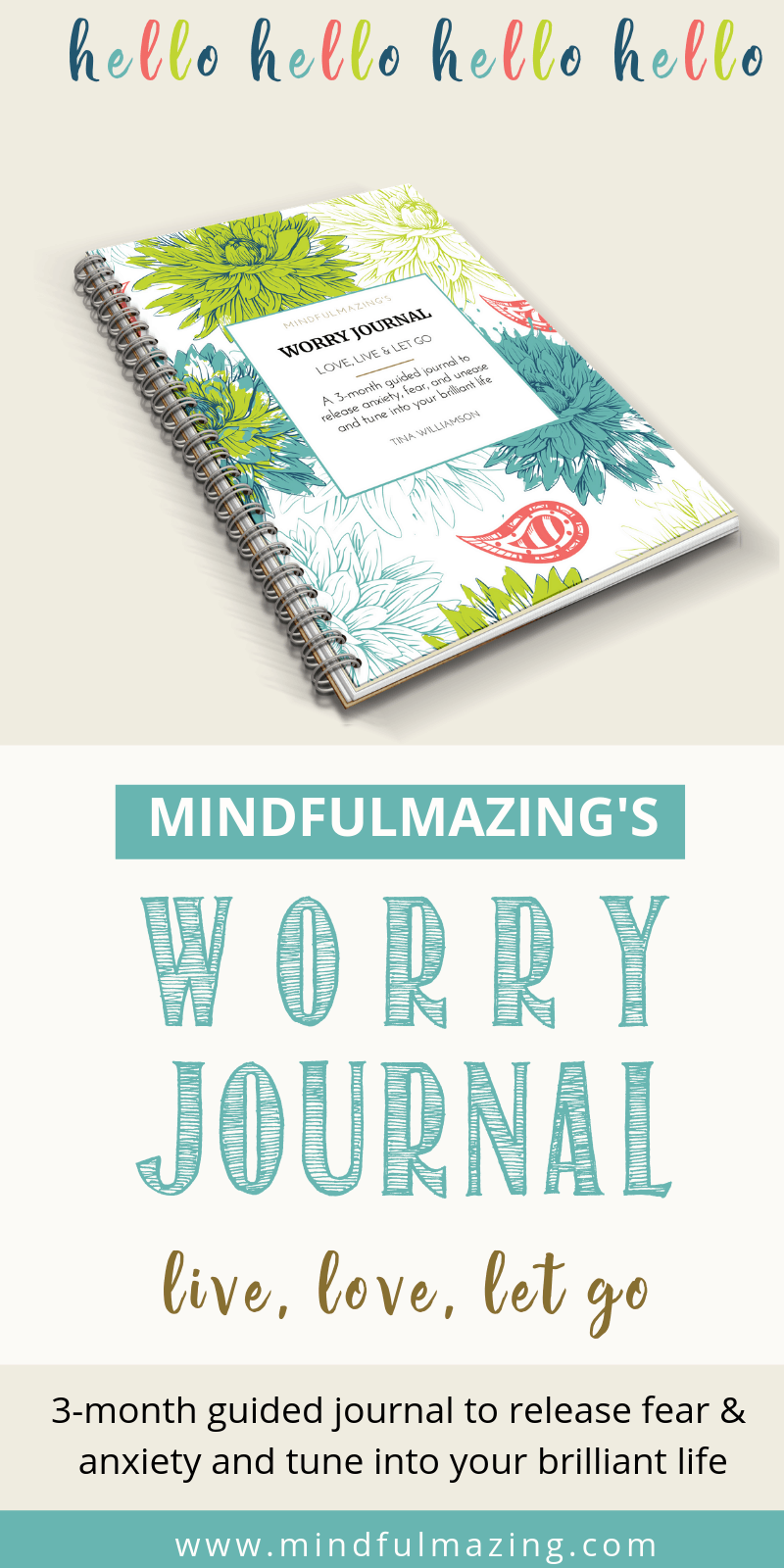 Grab your 3-month guided worry journal and eliminate your stress, worry and anxiety. Journalling is an effective form of cognitive therapy, and you'll this jam-packed journal. Full of quotes, positive affirmations, exercises, worksheets and much more. #stressrelief, #anxietymanagement, #selfcare Try it now!
