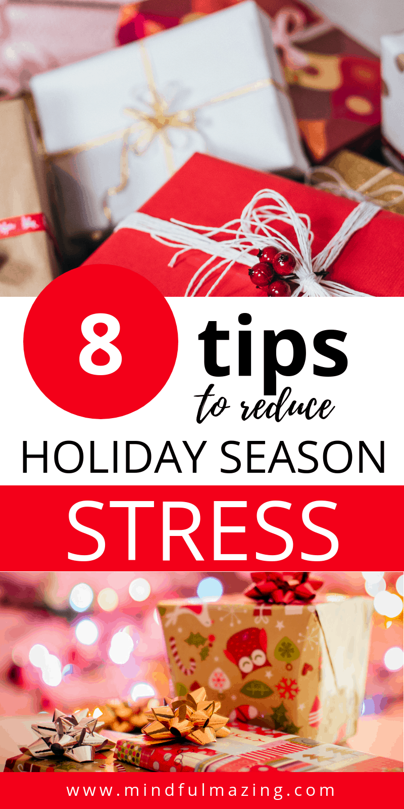Reduce holiday season stress. The holiday season often brings a dizzying flurry of stress, tension and anxiety. And it's not surprising. The holidays bring increased demands — parties, shopping, debt, baking, cleaning, travelling - to name just a few. Learn 8 tips to stay sane during the holiday season.