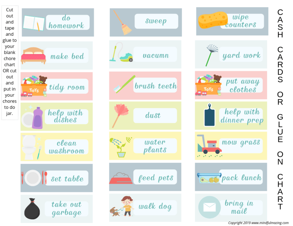 Download this FREE Printable Chore Chart for Kids to keep track of the chores your children doing. It will teach them responsilibility, the value of money and build their self-esteem. Win-Win. #chorechartforkids #kidschores #chorechart #printablechorechart