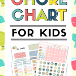 If you are looking for a chore chart kids printable, look no further. This kids chore chart has it all. It's colorful, motivating and your kids will love it. Teach your kids responsibility and the value of money with this fun, chore chart. #kidschorechart #chorechartkidsdiy