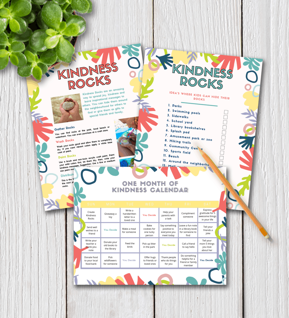 Are you wondering how to raise kind kids? These 6 smart tips to raise kind kids will help you lay the foundation for developing empathy in kids now so that they grow up to be kind, caring adults. Teaching kids about kindness can be fun. This epic post includes free kindness activities, a 30-day kindness calendar, and kindness rocks challenge printables. #kindnessrocks #kindkids #teachingkidskindness