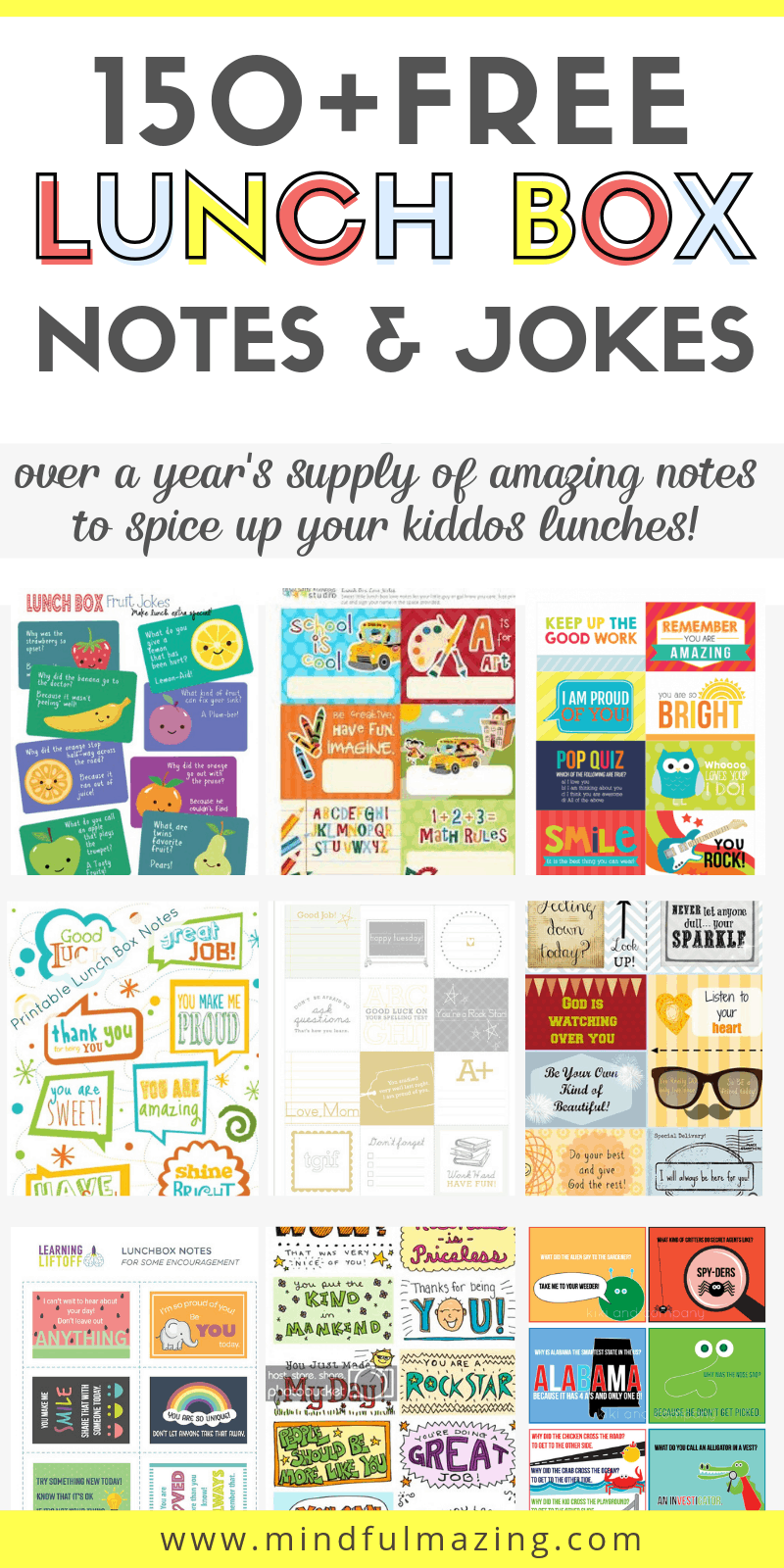 Lunch box notes for kids are a super cool way to remind your kiddo they are loved and that you are thinking about them while they are at school. This epic post includes the best of the best lunch box notes for kids from all over the web. Spice up lunches with these 150+ printable lunch box notes and lunch box jokes for back to school (includes lunch box notes for kindergarteners) guaranteed to make your kids feel loved and special. #lunchboxnotesforkindergarteners #lunchboxnotesforkid