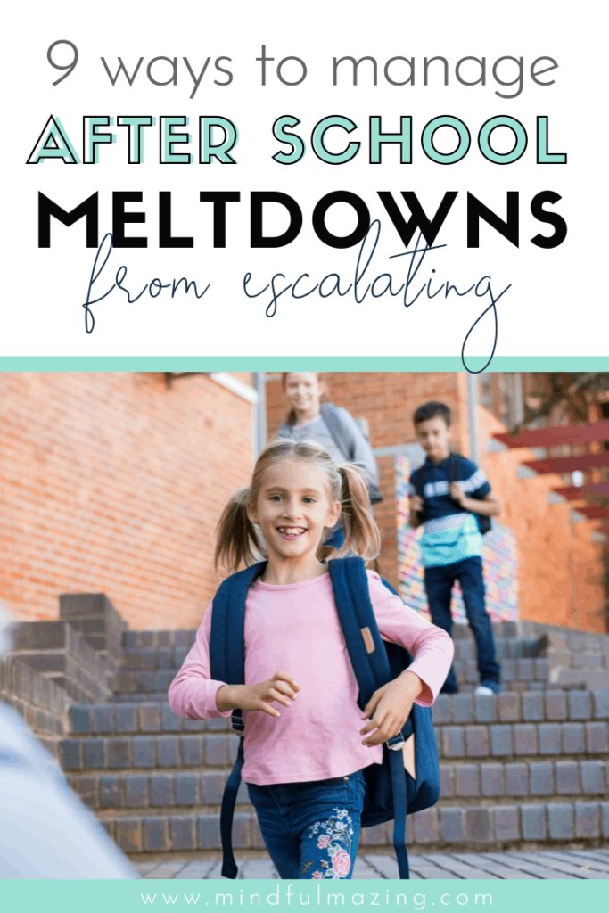 The after school meltdown is a common and completely normal. I'm so glad I found this list, which includes 9 easy and effective strategies to reduce the after school meltdown and get our kids back to being kids. After school routines are important, along with a few other genius tips. #afterschoolmeltdown #afterschoolroutine #positiveparentingtips #calmdowntoolsforkids