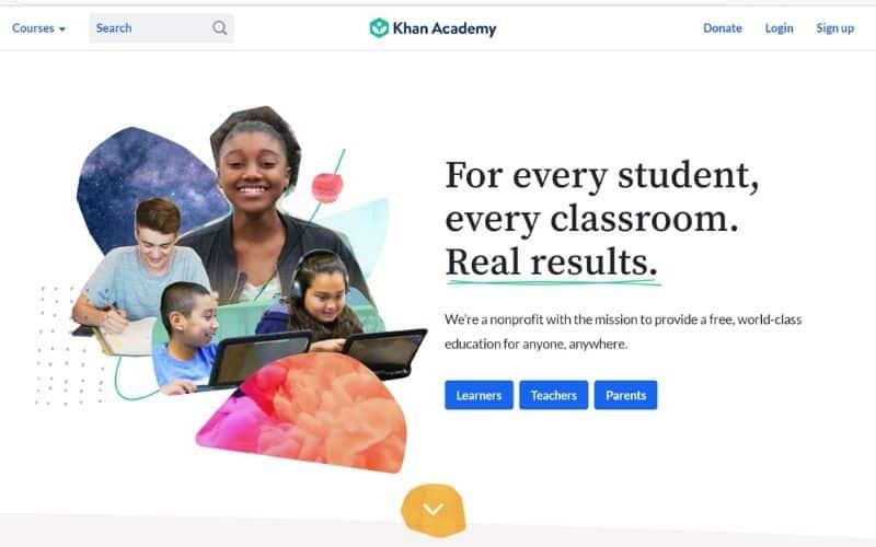 Khan Academy free educational websites for kids