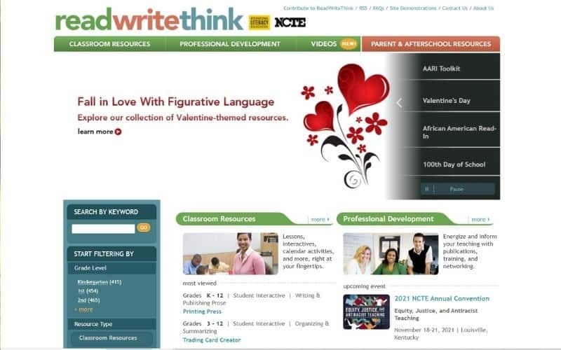 readthinkwrite learning sites