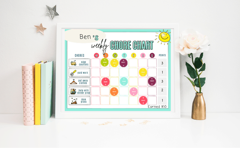 customizable chore chart for toddlers