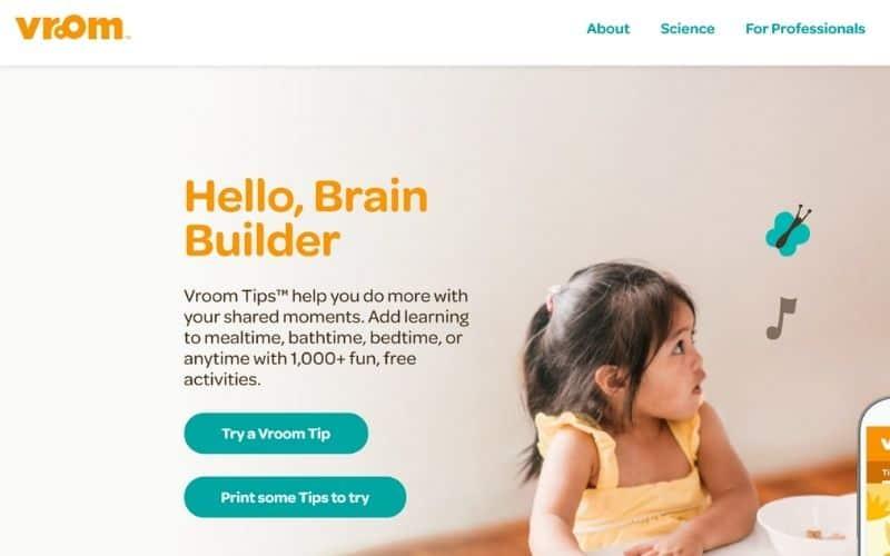 Vroom educational website for children