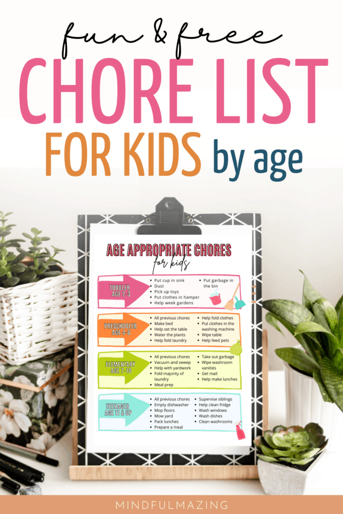 chore list by age for kids