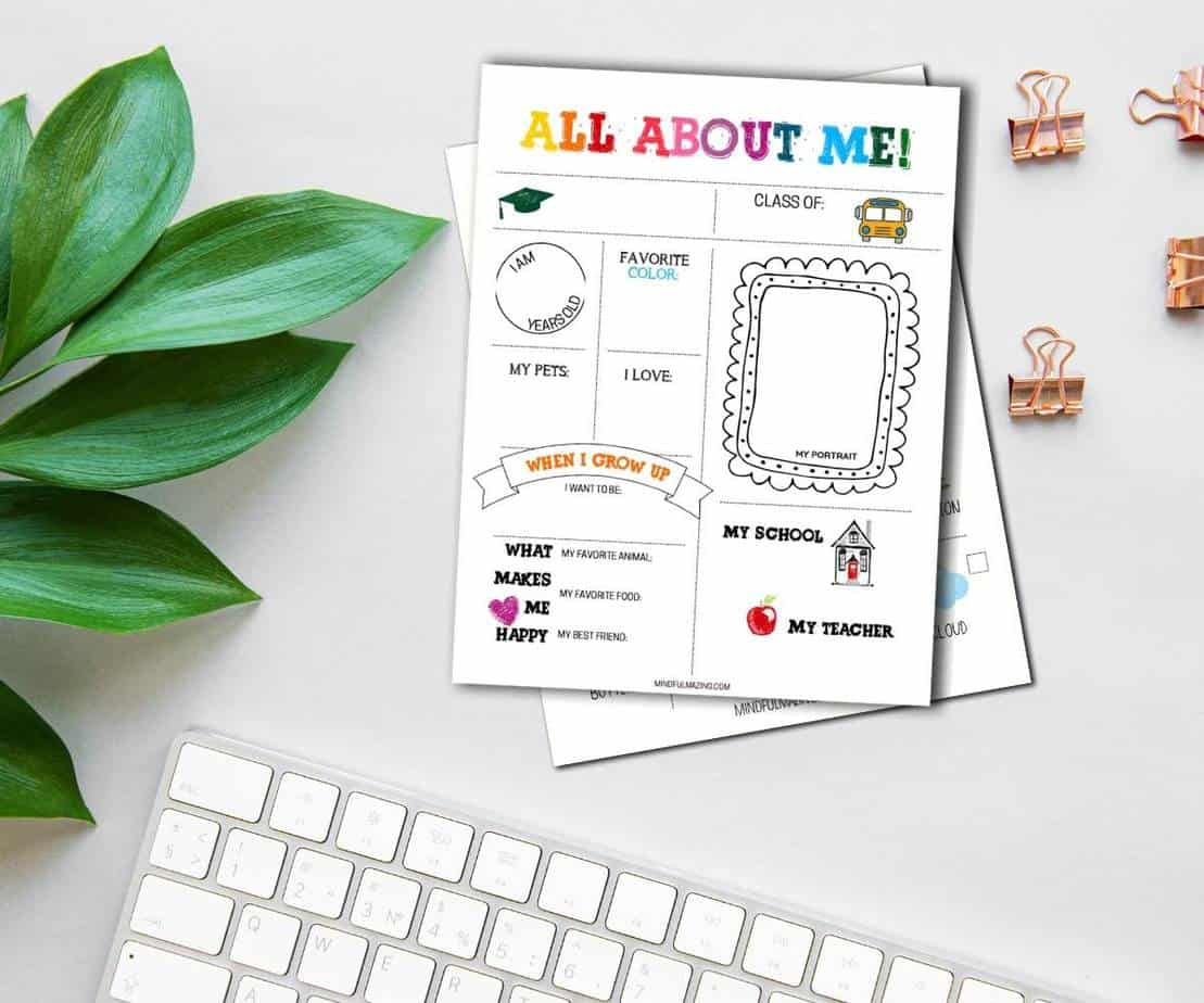All About Me Worksheets & Activities (Fillable) Perfect for Classroom or Home