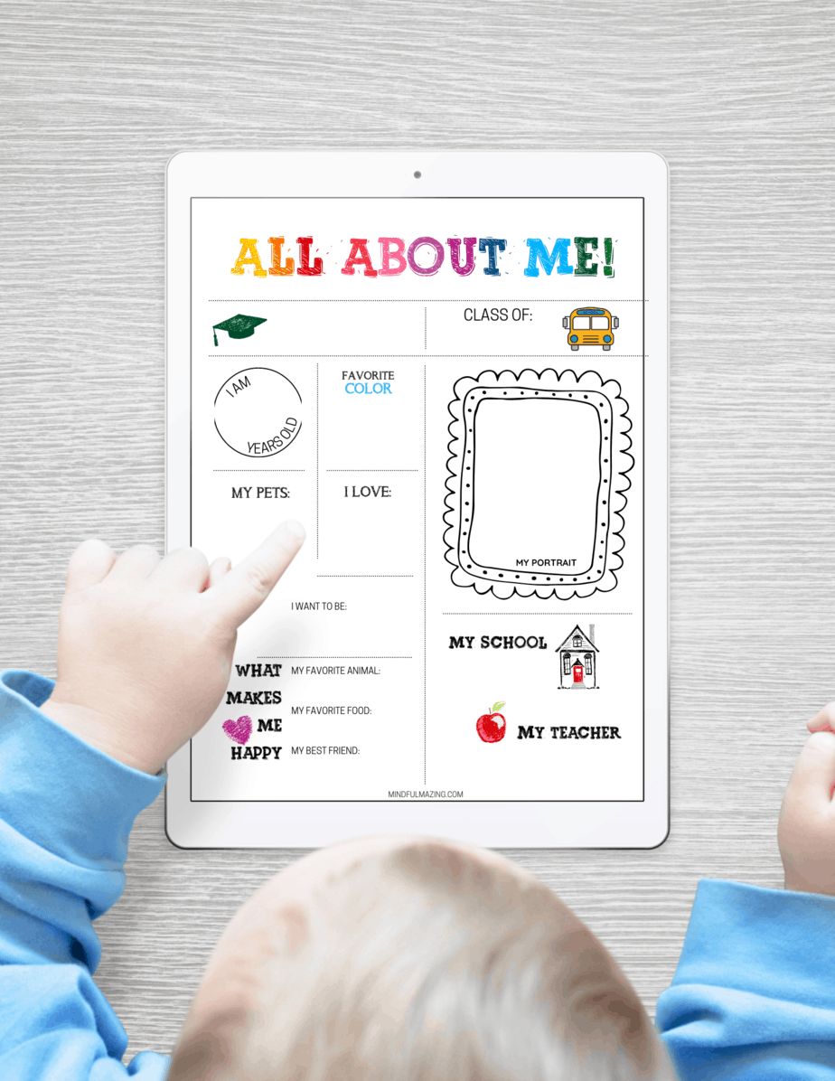 Printable All About Me Poster for Preschool, Kindergarten, and UP!