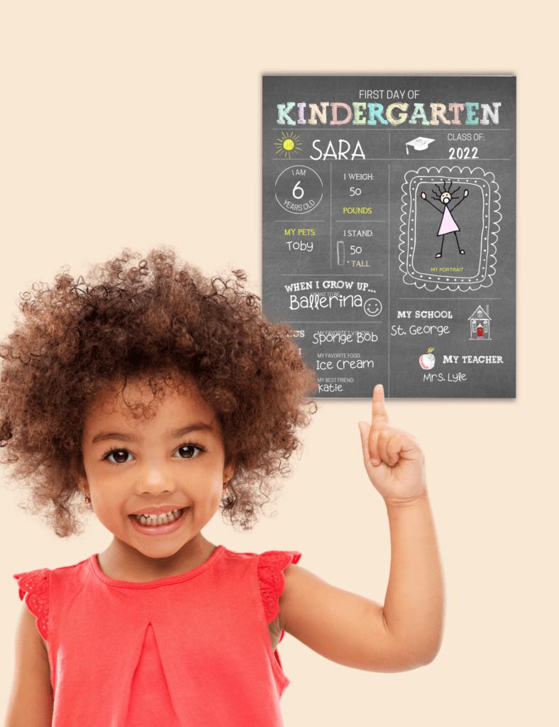 kindergarten back to school printable sign