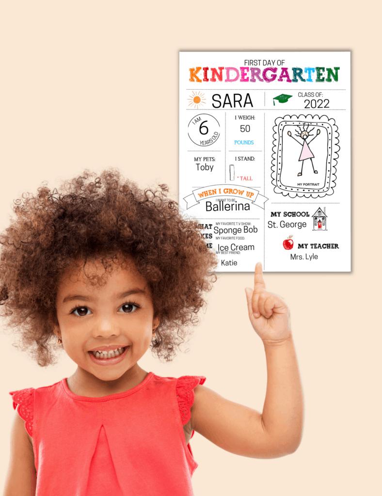 kindergarten first day of school printable