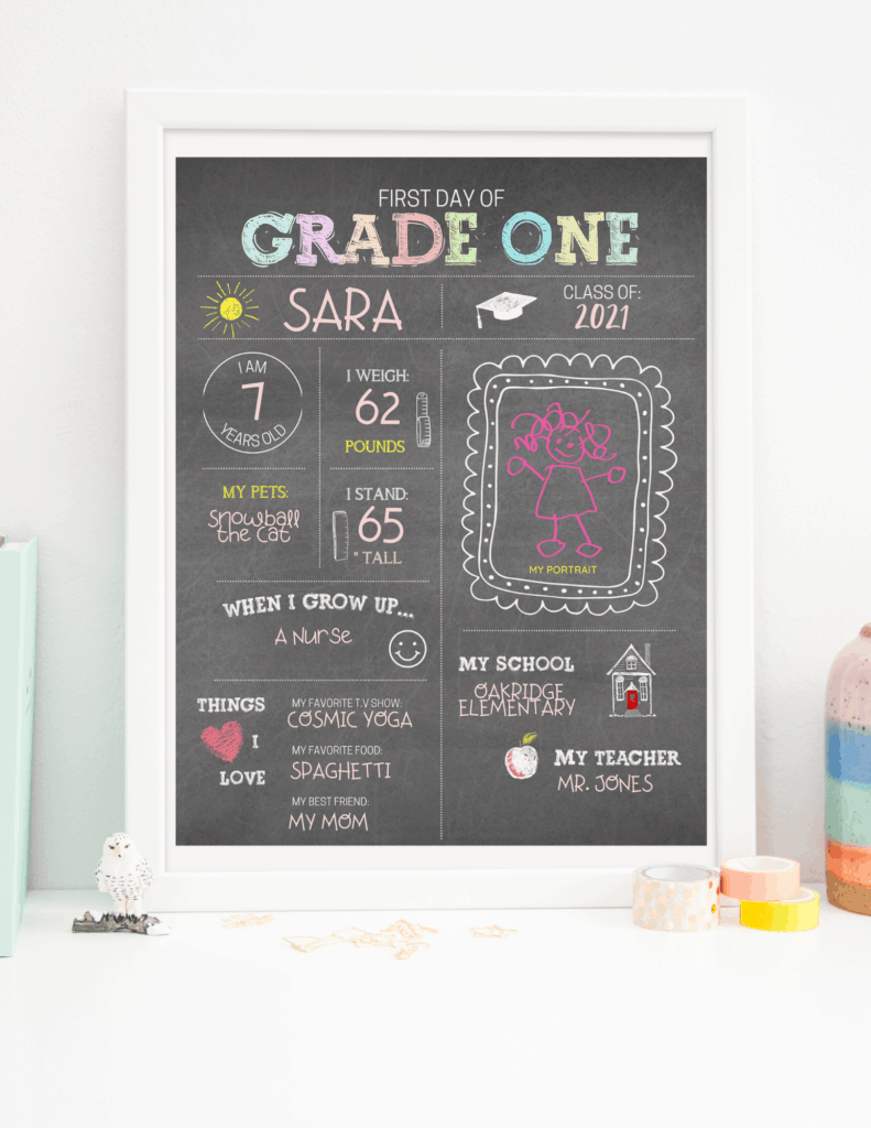 printable chalkboard first day of school sign