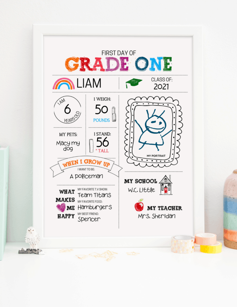grade one first day of school sign