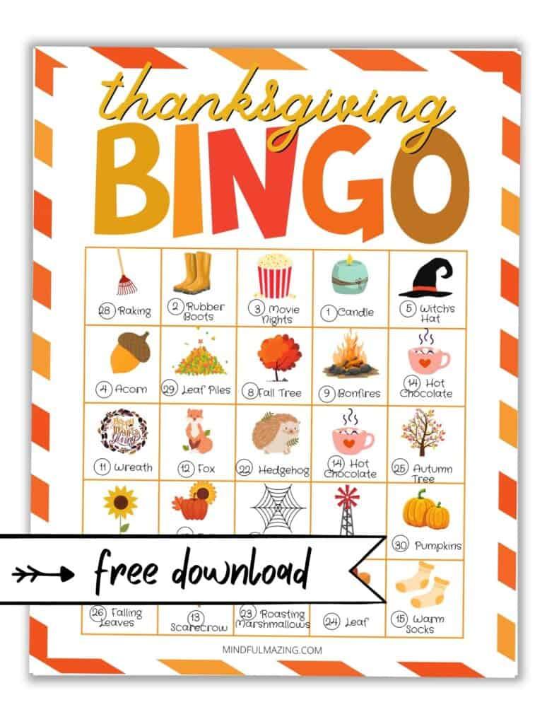 Free Thanksgiving bingo printable